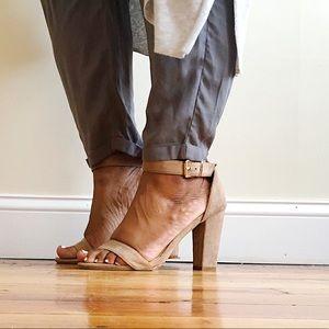 Chunky Heel Adjustable Ankle Strap Suede Sandals